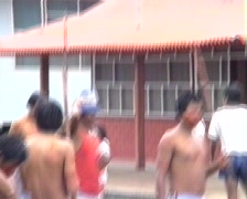 Indian demonstration in the Amazonian town of Coca Stock Footage