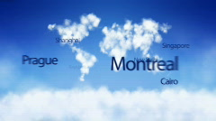 City names fly out of clouds Stock Footage