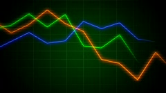 Charts showing economic slowdown Stock Footage