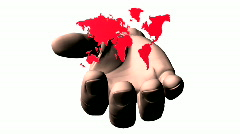 Colorful world geographical map silhouette rotated on the hand, loop Stock Footage