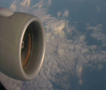Jet engine in sky - stock footage
