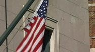 United States Flag on Building Stock Footage