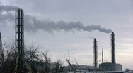 Stock Video Footage of Smoke chemical factory chimney winter 5