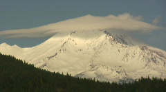 Timelapse of clouds over Mount Shasta Closeup Stock Footage