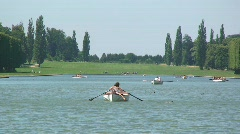 Couple in a Row Boat at Versailles French Lake Stock Footage