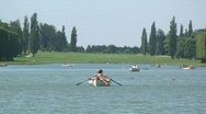 Stock Video Footage of Couple in a Row Boat at Versailles French Lake