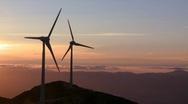 Wind turbine sunset Stock Footage