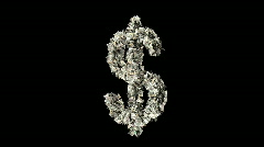 Dollar sign shedding money Stock Footage