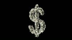 Dollar sign shedding money Stock Footage