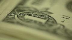 Stack of U.S. dollar bills - panning shot Stock Footage
