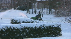 Snow Blowing Tractor Stock Footage