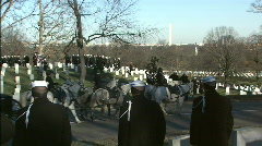Horse Drawn Casket Arrives one Stock Footage