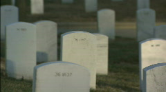 Softfocus pan to CU of tombstone 2 Stock Footage