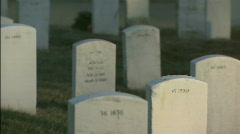 Softfocus pan to CU tombstone Stock Footage