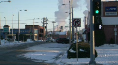 Winter Street Refinery Background Stock Footage
