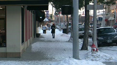 Walking Down Winter Sidewalk Stock Footage