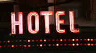 Stock Video Footage of Hotel sign.