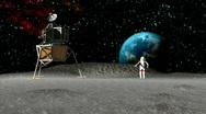Stock Video Footage of Astronaut on the Moon HD1080 3d animation