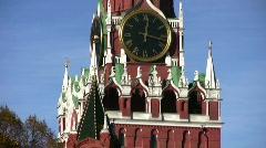 Kremlin tower with clock panning Stock Footage