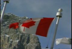Flag, Alberta and Canada flags dutch tilt Stock Footage