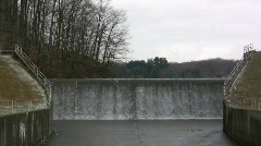Water flowing Over Dam wide angle Stock Footage