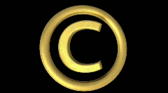 Golden Copyright symbol Loop Stock Footage