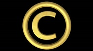 Stock Video Footage of Golden Copyright symbol Loop