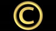 Golden Copyright symbol Loop Stock Footage