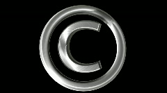 Metallic Copyright symbol Loop Stock Footage