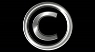 Stock Video Footage of Metallic Copyright symbol Loop