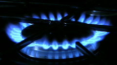 Flames on a gas ring burner of a natural gas cooker. Stock Footage