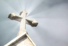 Stone Cross Rays  Stock Footage