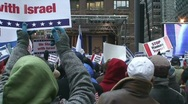 Stock Video Footage of Chicago Pro-Isreal Rally 1/9/09
