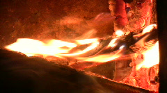 Fireplace burning flames vertical orientation 2 Stock Footage