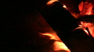 Fireplace burning flames vertical orientation 3 Stock Footage