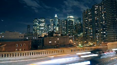 Downtown NYC skyline with traffic Stock Footage