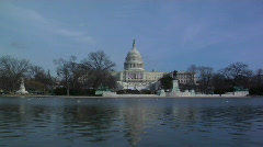 Reflecting pool Snap zoom to Capitol Flags Stock Footage