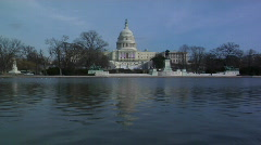 Reflecting pool shot of Capitol with Flags Stock Footage