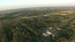 Stock Video Footage of Aerial - fields, woods, settlements 2.mov