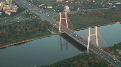 Bridge aerial in Warsaw Stock Footage