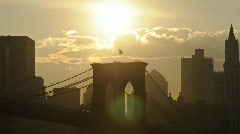 Clean HD Brooklyn Bridge Sunset Stock Footage