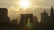 Stock Video Footage of Clean HD Brooklyn Bridge Sunset
