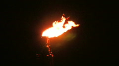 Oil refinery flame at night Stock Footage