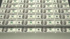 Printing money sheets. hundred dollar Stock Footage