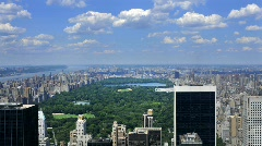 Clean HD NYC Central Park with puffy clouds Stock Footage