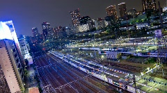 View of Tokyo trains from Above - HD time lapse Stock Footage