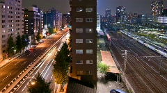 Sharp HD - Time lapse of Tokyo highway and trains Stock Footage