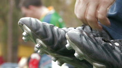 Tying up shoes  Stock Footage