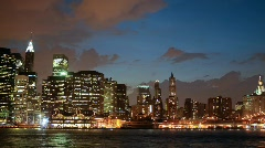 NYC skyline - Dusk to night Stock Footage