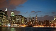Stock Video Footage of NYC skyline - Dusk to night